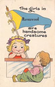 The Girls in Ravenwood Missouri~Virginia~Handsome Creatures~1913 Pennant PC