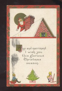 SANTA CLAUS RED ROBE CHIMNEY ROOFTOP VINTAGE CHRISTMAS POSTCARD 1919