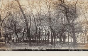 C16/ Lisbon North Dakota ND Real Photo RPPC Postcard 1909 Sandager Park Scene