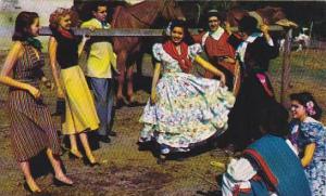 Gauchos & Girls Perform Folk Dances In Local Costume, Near Buenos Aires, Arge...
