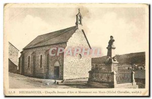 Postcard Old Neussargues Chapel Joan of Arc and the War Memorial