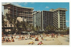 WAIKIKI BEACH, Honolulu, Hawaii, 1940-60s; Outrigger & Surfrider Hotels