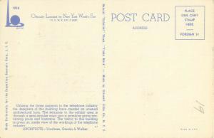 New York World's Fair AT&T Exhibit Building 1939 Linen  Postcard