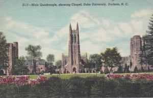 North Carolina Durham The Chapel and Main Quadrangle Duke University Curteich