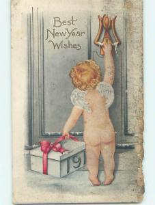 Pre-Linen new year CHERUB HOLDING GIFT BOX AT DOOR KNOCKER HQ8065
