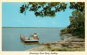 Mississippi River Ferry Portageville MO Old Pickup Truck Tiptonville TN Postcard