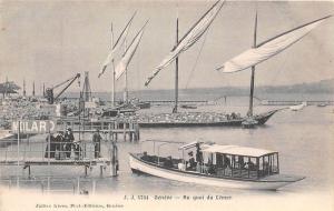 Motor Boat Launch Pier Quai Lemar Geneva Switzerland 1910c postcard