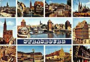 France Strasbourg Church Bridge Towers Eglise Panorama Postcard