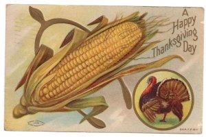 Thanksgiving Wishbone Ear of Corn Turkey Vintage Taggart Litho 1909 Postcard