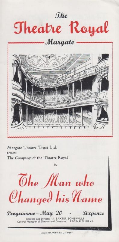 The Man Who Changed His Name Edgar Wallace Theatre Royal Margate Kent Programme