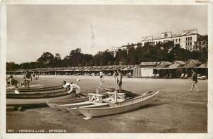 Venezia Lido Spiaggia Beach Real Photo Postcard boats Italy
