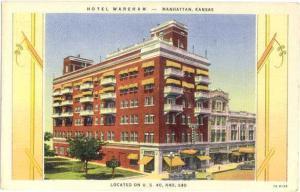 Linen Card of Hotel Wareham Manhattan Kansas KS
