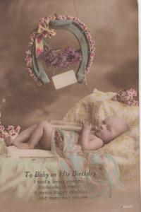 Baby with Dummy Feeding Bottle Antique Birthday Greetings Postcard