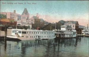 St. Paul MN Steamer Boat Landing c1905 Postcard UDB