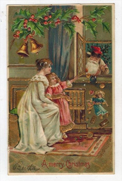 Christmas Mother Daughter seeing Santa in Window