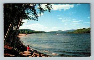 Bristol NH- New Hampshire, Newfound Lake, Shoreline View, Chrome c1954Postcard