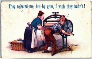 Man Working Laundry Wringer Mangle Artist Douglas Tempest Vtg Postcard A30
