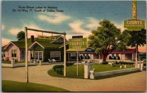 Dallas, Texas Postcard LAUREL TOURIST LODGE MOTEL Highway 77 Roadside Linen