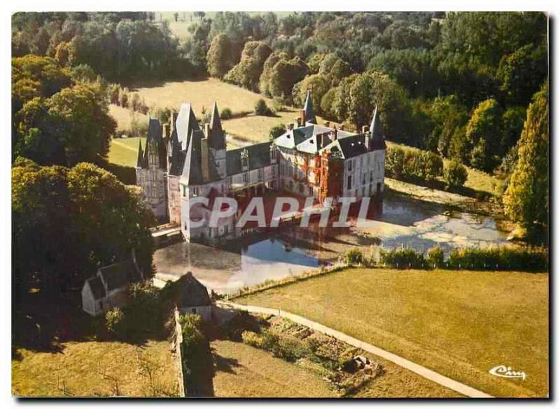 Modern Postcard Mortree Orne seen air Castle of O of 15th with the 17th S