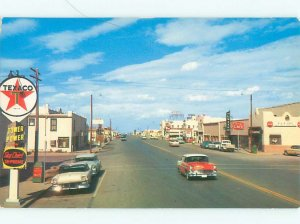 Pre-1980 TEXACO GAS STATION SIGN & SHOPS ALONG STREET Van Horn Texas TX AF6235