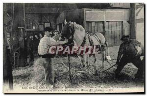 Postcard Old Mine Mines St Etienne Descent d & # 39un horse in the mine TOP