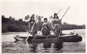 Tongan Girls In Canoe Ship Tonga Old Real Photo Postcard