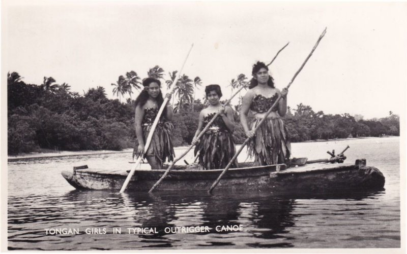 Tongan Girls In Canoe Ship Tonga Old Real Photo Postcard