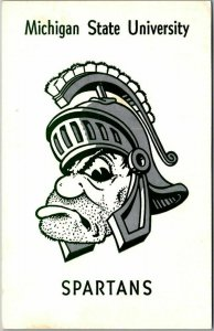 MICHIGAN STATE UNIVERSITY Postcard SPARTANS Sparty Mascot c1960s Chrome Unused