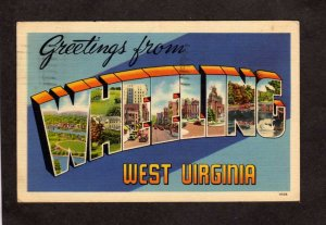 WV Greetings From Wheeling West Virginia Linen Postcard Large Letter