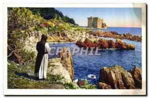 Old Postcard Ile St Honorat Monastery Strengthens and reefs