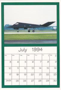 July 1994 Limited Editon Calendar Cardm AirShow '94 Lockheed F-117 Stealth Bo...