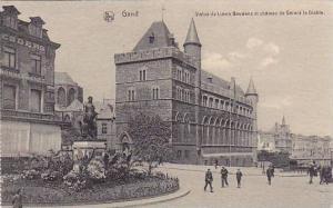 Gand , Statue de Lievin Bauwens et chateau de Gerard le Diable, Belgium, 00-10s