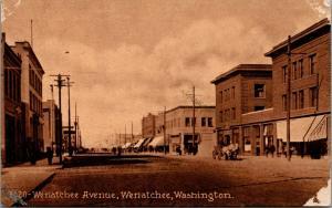 Wenatchee Washington~Wenatchee Avenue Hardware~Dentist~Horse Buggies~1912 Sepia