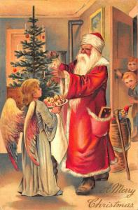 A Merry Christmas Red Robed Santa Claus Tree Angel Apples Children PFB Postcard