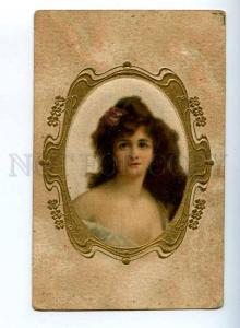 206762 Belle Woman Head by Angelo ASTI Vintage SILK postcard