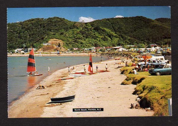 NZ View North Beach Paihia New Zealand Postcard PC Carte Postale