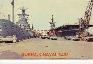 battleship and aircraft carrier - NORFOLK NAVAL BASE - circa 1960 photo by Roy