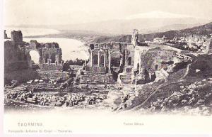 Italy - Taormina Greek Theatre Ruins - Hotel Metropole Stamp