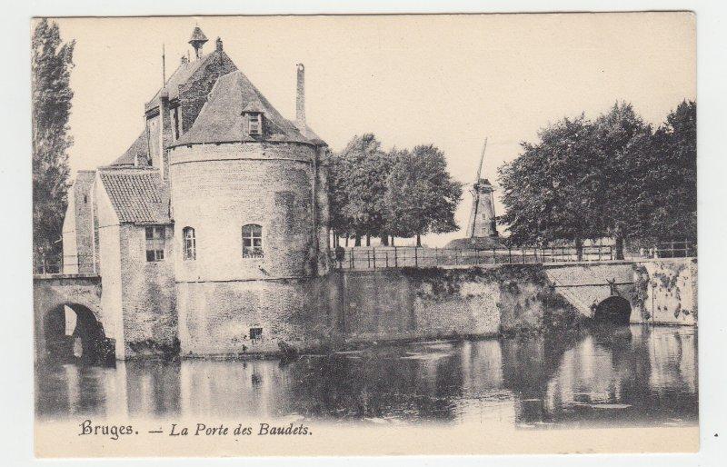 P2204, old postcard view bruges - la porte des baudets water windmill etc