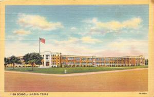 Laredo Texas~High School Building~American Flag Sticks Out~1940s Linen Postcard