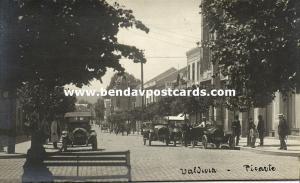 chile, VALDIVIA, Avenida Ramon Picarte, Old Cars (1920s) RPPC