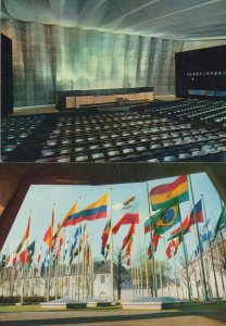 United Nations Main Conference Hall Flags 2x Postcard s