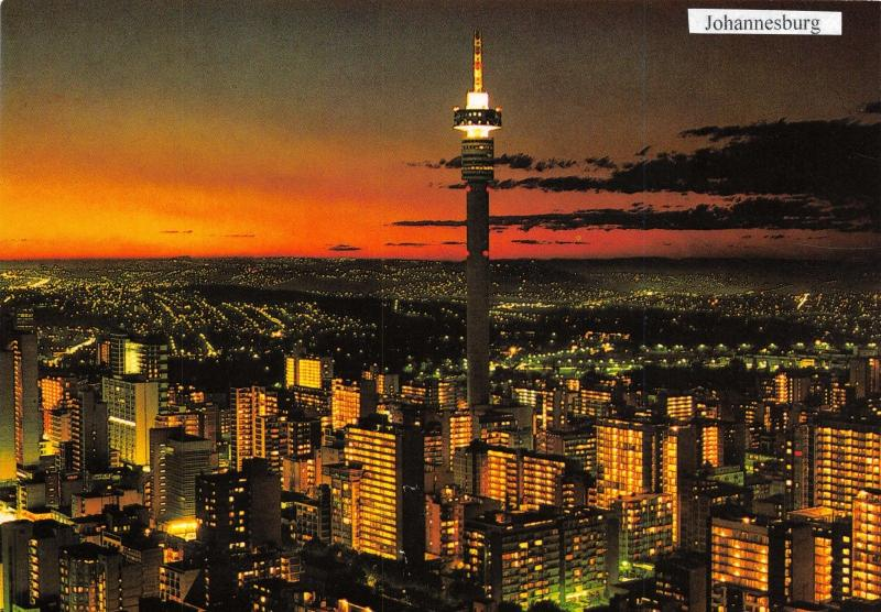 Postcard Strijdom Tower, Johannesburg, South Africa at Night A87