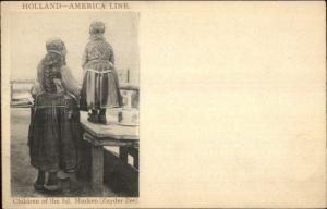 Steamship Holland Amerika America Line Children Isle of Marken c1905 PC