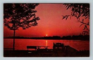Winona Lake IN- Indiana, Sunset Winona Lake Christian Assembly, Chrome Postcard
