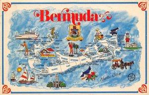 Bermuda Post card Old Vintage Antique Postcard Bermuda Map 1974