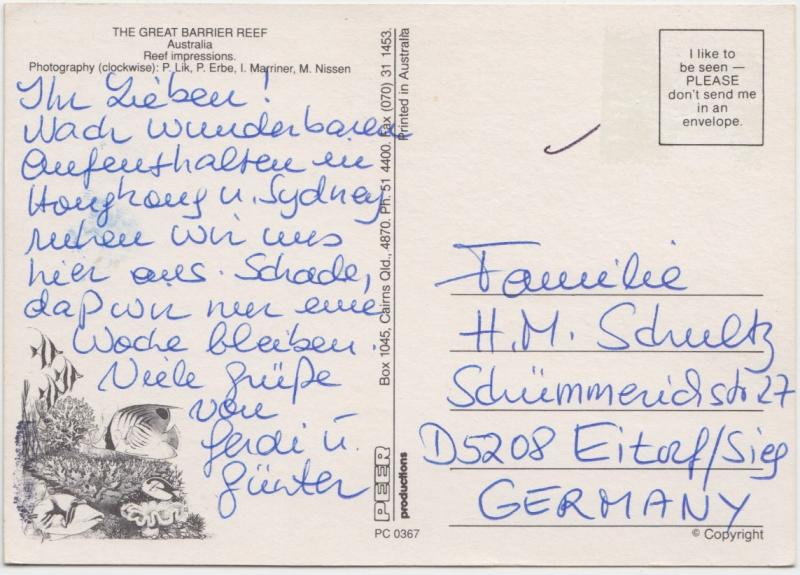 The Great Barrier Riff, Australia, used Postcard