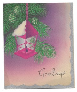 VINTAGE 1940s WWII ERA Christmas Greeting Card Art Deco CANDLE LAMP IN PINE TREE