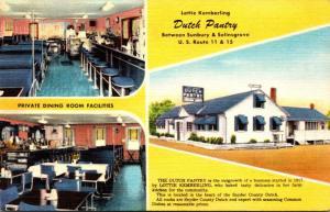 Pennsylvania Lottie Kemberl;ing Dutch Pantry Restaurant Between Sunbury and S...