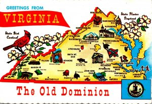 Virginia Greetings From The Old Dominion With Map